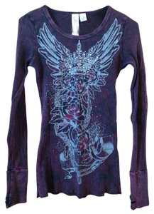 Fresh Brewed Girls Juniors Misses Womens Thermal Purple Medium Small Long Sleeve Thumb Cuff Thumb Hole Casual Crown Rhinestones Tunic