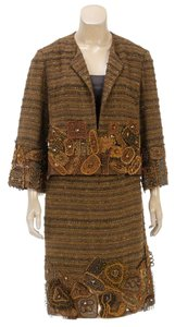 Oscar de la Renta Oscar de la Renta Brown Multicolor Jeweled Tweed Skirt Suit (Size 12)