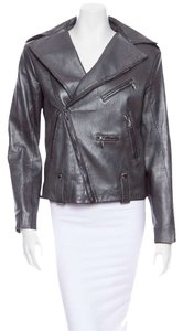 Louis Vuitton Pewter Lambskin Leather Motorcycle Moto Silver Leather Jacket