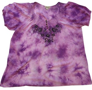 One World Embroidery Short Sleeve Peasant Top Purple Tie Dye