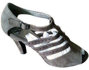 Soft 3inch Heel Suede Embossed Black Stud grey silver white Sandals