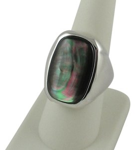 Vicenza Silver Vicenza Silver Sterling Silver Black Mother-of-Pearl Doublet Ring
