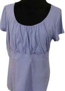 Ann Taylor Ruched Blue T Shirt Cap Sleeves Short Sleeve Top