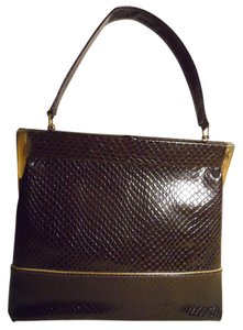 Air Step Vintage Man Made Faux Snakeskin Satchel in brown