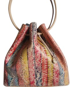Brahmin Snake Print Leather Multi-color Stripes Medium-large Size Bucket Style Satchel in Coronado Dove