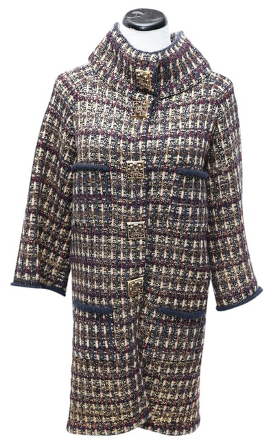 Item - Black Maroon Cream Gold Tone Flaked Knitted Coat Size 8 (M)