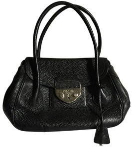 Prada Lock Logo Leather Tote in Black