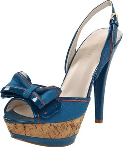 Nine West Slingback Stiletto 6 Blue Sandals