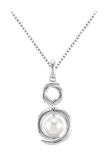 LoveBrightJewelry Freshwater Cultured Pearl Pendant in Rhodium 925 Sterling Silver