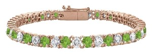 Fine Jewelry Vault Tennis Bracelet Peridot with Cubic Zirconia on 14K Rose Gold Vermeil. 7CT. TGW. 7 Inch