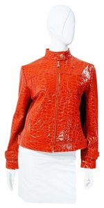 St. John Cherry Patent Embossed Croc Crocodile Alligator Lambskin Leather Red Leather Jacket