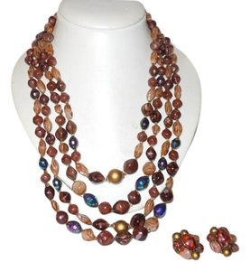 Vintage beaded multi strand necklace & clip earrings