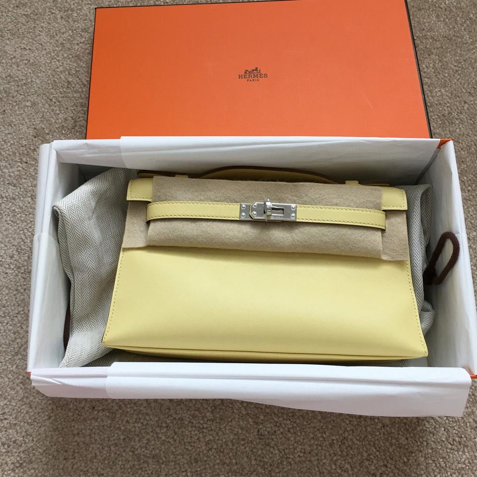 hermes fake - Herm��s Bnib Kelly Pochette Swift Leather Mini Jaune Poussin Phw ...