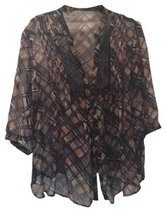 Gibgoa Silk Top Multi-color Brown, Black, Cream, Gray