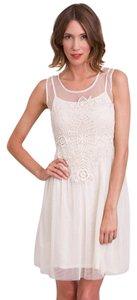Mystree short dress off white Boho Crochet Tulle on Tradesy
