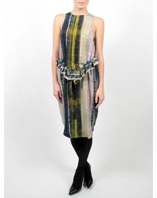 SUNO Tribal Print Kenya Peplum Silk Cocktail Dress