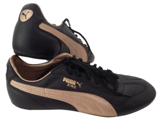 Item - Black and Gold Ring Sneakers Size US 8 Regular (M, B)