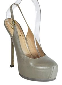 Saint Laurent Tribute Two Round Toe Gray Pumps
