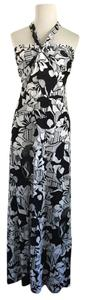 Black/White Maxi Dress by Banana Republic Halter Silk Comfy