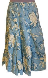 Apt. 9 Full Colorful 100% Skirt Light blue, ivory and black print