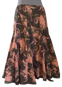 Apt. 9 Fun Flirty Floral Skirt Brown, Ivory and Coral Print
