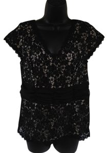 Studio 1940 Lace Overlay Beading Girly Top Black and Cream