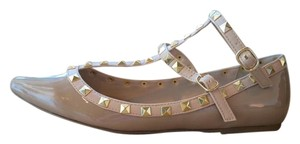 Wild Diva Lounge Studded Patent Leather Ankle Strap Pointed Toe Natural Flats