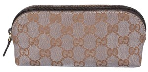 Gucci New Gucci 272367 Small Shimmer Grey Gold Canvas GG Dome Cosmetic Makeup Bag