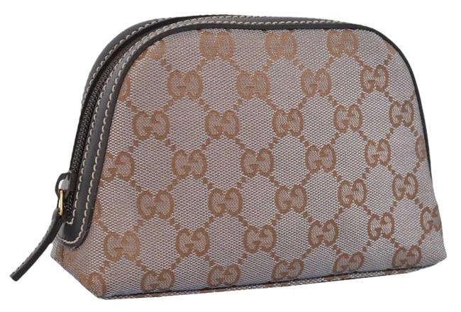 Item - Multi-color Dome New 272366 Metallic Grey Gold Canvas Makeup Cosmetic Bag