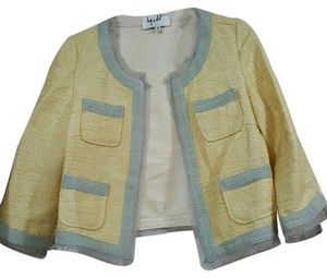 Anthropologie Work Patchwork Jacket Light yellow, gray, metallic, silver Blazer