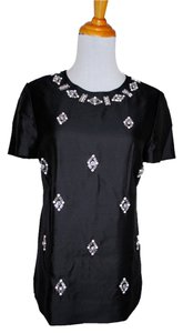 Tory Burch Jeweled Beaded Top Black