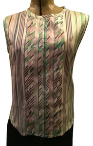 Barneys New York Silk Striped Sleeveless Top cream, blue, pink, black, green