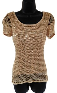 INC International Concepts Crochet Sequin Flirty T Shirt Gold
