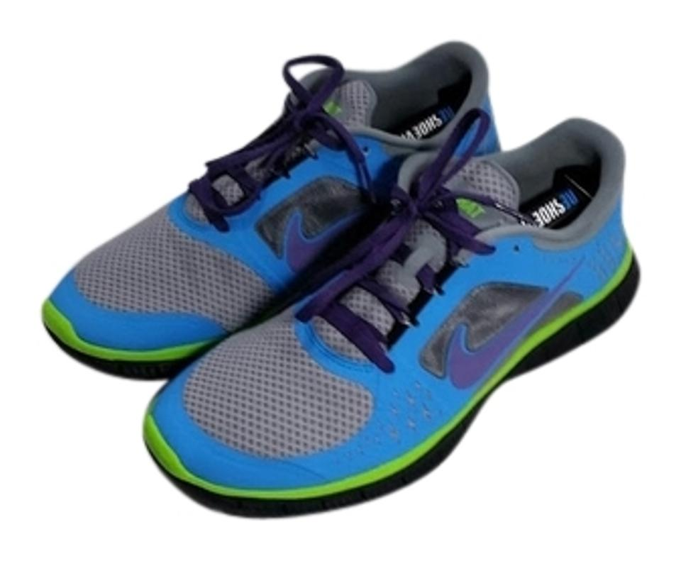 c325684929f3 Nike Blue Gray Lime Purple Free Run Id Sneakers. Size  US 10 Wide (C ...