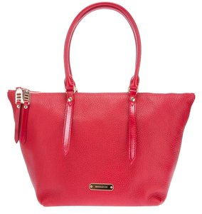 Burberry Pebbled Leather Tote in Red