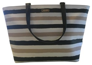 Kate Spade Classic Polished Tote in White, Black, Brown