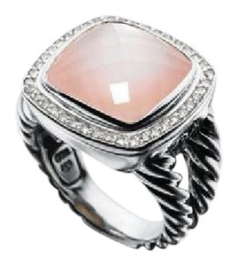 David Yurman Albion Collection 14mm Ring - Rose Quartz, Mother of Pearl & Diamonds
