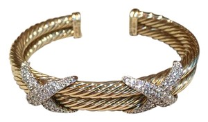 David Yurman David Yurman Gorgeous 14K Gold X Diamonds Bangle Bracelet