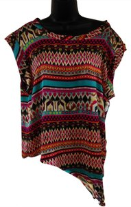 Hale Bob Bright Flowy Asymmetrical Top Fuchsia, brown, teal
