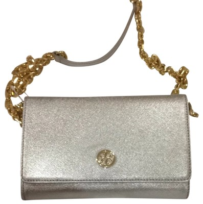 Tory Burch Robinson Chain Wallet Silver 16 Off Tory