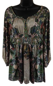 One World Tribal Puffy Bright Top Beige, Green, Blue