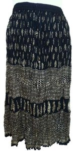 I.K. Collections India Boho Bohemian Hippie Gypsy Maxi Skirt Black