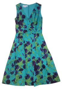 Kay Unger short dress Green & Purple Floral on Tradesy