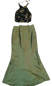 bebe Halter Top Silk Maxi Skirt Green