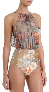 New Retro Floral Mesh High-waisted Monokini Swimsuit Tie Open Back Sz M