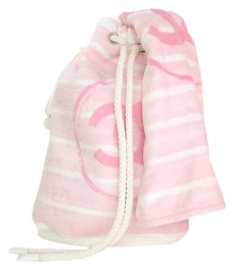 Chanel Terry Cloth Monogram Logo Pink Beach Bag