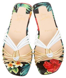Christian Louboutin Print Strappy Knot White, Multicolor, Gold Sandals