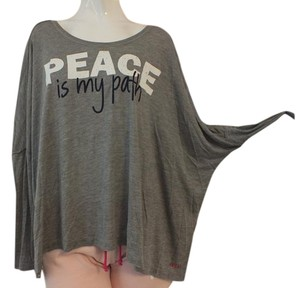 Peace Love World T Shirt Heather Grey