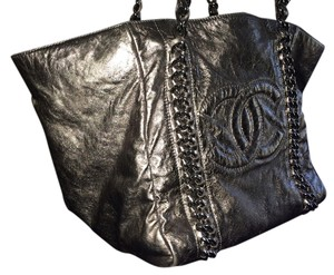 Chanel Lambskin Shoulder Tote in SILVER