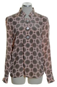 J.Crew Silk Paisley Medallion Long Sleeve Top Peach